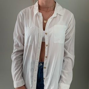 white button-up top